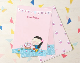 Personalised Girl's Birthday Thank You Cards (choose the hair colour) -- Minimum order 8