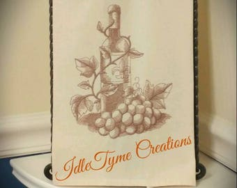 Vintage Style Kitchen Towel, Embroidered Wine Bottle Grapes Fleur de Lis, Hand Towel, Cafe Decor Linens, Hostess, Housewarming & Client Gift