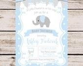 Elephant Baby Shower Invitation, Baby Boy Shower Invitation, Elephant Boy Printable Shower Invitation, Blue Elephant Printable Invitation