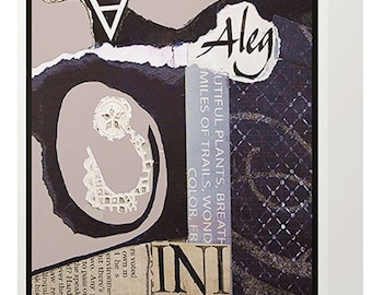 """AMY: Greeting Card; """"Rhythm""""; print of original abstract torn paper collage."""