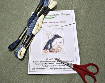 Australian marine life cross stitch chart - Fairy Penguin.  PDF instant download