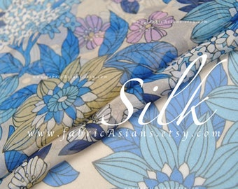 Sunflower Fabric Blue Silk Georgette by the yard