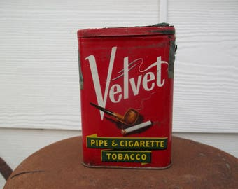 Vintage • Tobacco Pipe Tin Velvet Collectible | America's Smoothest Smoke Pipe Cigarette Smoker Classic Tobacciana Metal | Made in USA