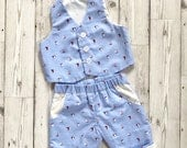 Baby Boy Outfit - Nautical Boys Outfit - Baby Wedding Outfit - Baby Suit Set - Sailor Pattern Suit - Newborn Outfit - Boys Summer Clothes
