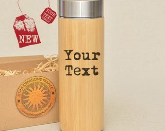 Personalized Thermos with Your Text or Your Image Engraved Bamboo Wood Stainless Steel with Screw Lid