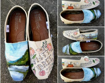 Hand Painted Murrells Inlet Wedding Shoes Bride's Love Story Wedding Shoes Adirondack TOMS Unique Shoes Gift for  Bride Bridal Shower Gift