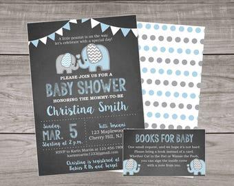 Elephant Baby Shower Invitation Boy - Chalkboard Baby Shower Invitations- Elephant Baby Shower Invitations - Boy - Blue - Elephants Baby-102
