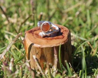 Sterling silver oak twig pendant with sunstone.