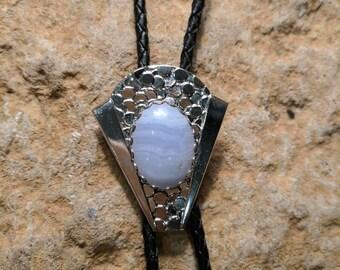 Vintage Bolo Tie - White Stone