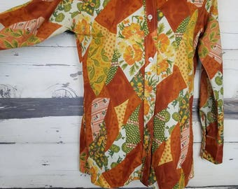 Vintage 1970s Empire Polyester Button Up Floral Patchwork Disco Blouse Rust Orange Yellow Green