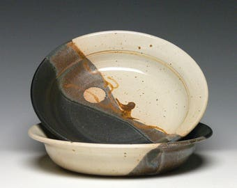 Set of 2 Pottery Pasta Bowls, Stoneware Salad Bowls, Hand Thrown Soup Bowls