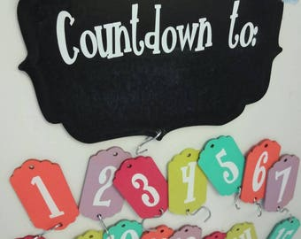 Customizeable wood chalkboard 15 day countdown calendar- for vacations, birthdays, holidays, back to school, family visits, graduation