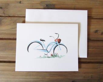 Vintage style bicycle and basket, with flowers/blank greeting card/ wedding card/ vintage bike/ vintage style art/ vintage style wedding