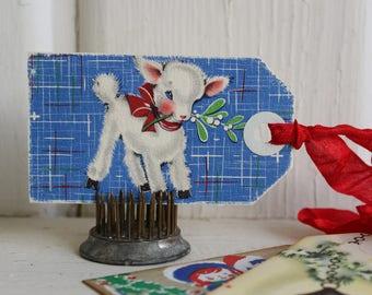 Vintage Kitschy Christmas Gift Tags Assorted Handmade from 1940's Ephemera, Retro Kitschmas - Set of 3