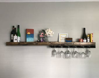 "Asymmetrical 60"" Long Rustic Wood Wine Rack Shelf & Coffee Bar   Coffee Mug Holder Hanging Stemware Glass Holder Organizer Bar Shelf Unique"