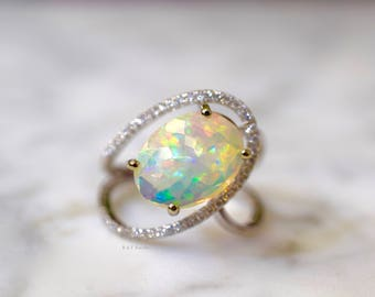 SALE! 14K White Gold Oval Opal And Diamond Ring