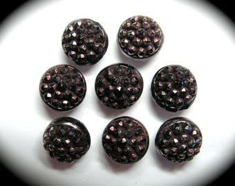 Antique Buttons ~ Set of 8 Victorian Era Black Glass with Luster