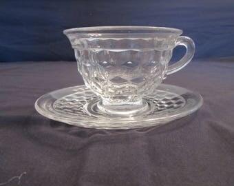 Fostoria American Cubist Glassware Cup and Saucer Set