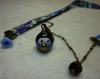 Liberty Bell blue Kokeshi necklace