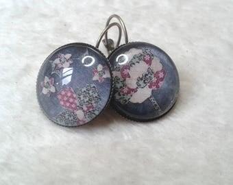 Purple woven Flower Earrings