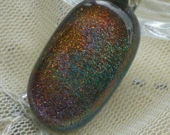 Autumn Colour Dichroic Glass Pendant. Orange, Pink, Green, Fused Glass Pendant.  Autumn Colour Glass Necklace