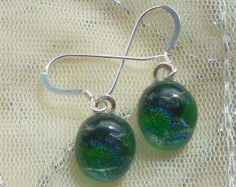 Green Dichroic Glass Dangle Earrings.  Green Fused Glass Earrings.  Green Glass Dangle Earrings