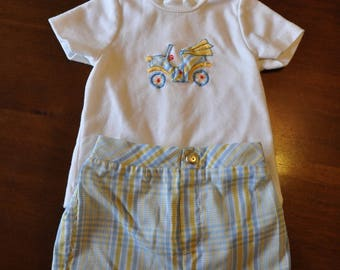 Vintage Baby Boy Outfit, Blue Car Themed Boy Shirt Shorts Set, 12 Mo.