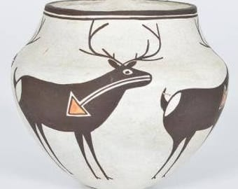 Native American, Acoma Poly Chrome, Pottery Bowl, Lucy Lewis  #1196