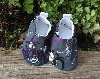 Handmade Baby Shoes 6-12 mo with Nightmare before Christmas fabric Ready to Ship