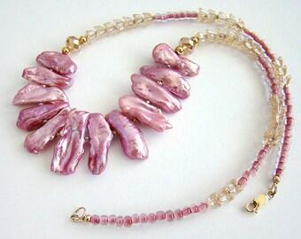 Romance Necklace, Mauve Stick Pearl Necklace, Pink Stick Pearl Czech Glass Necklace, Pink Pearl Necklace, Pink and Gold Bead Necklace