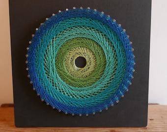 Mandala string art feng shui decoration string art wall art green blue geometric talking point decoration zen meditation yoga round