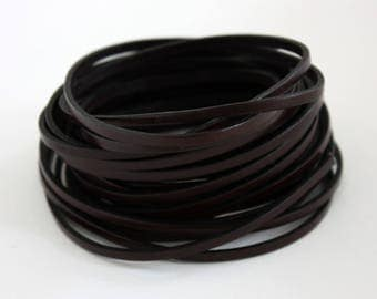 Dark brown leather 3 mm by 50 cm