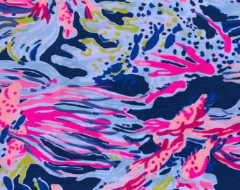 Indigo  Sunken Treasure 9 X 18 or 18 X 18 inches cotton dobby ~Lilly Pulitzer~