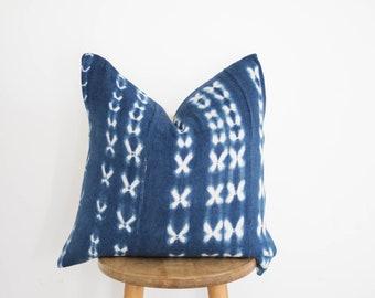 African Vintage Indigo Mudcloth Pillow Cover