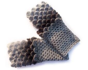 Dragon Gloves, Crocodile Fingerless Gloves, Crochet Gloves, Dragon Scale Fingerless Gloves, Gift For Christmas by LoveKnittings