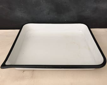 Enamel Photo Tray - Vintage Large Enamelware Photo Tray - Metal - Industrial - Developing Tray - White and Black Trim Tray - Bin