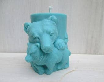 Turquoise bear rapeseed wax candle