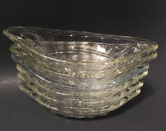 Set of 6 Heavy Clear Panel Glass EAPG Banana Split Boats Ice Cream Parlor Dishes Fountainware