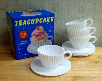 Teacups Set of Silicone Cupcake Baking Molds with 4 White Silicone Tea Cups and 4 White Plastic Saucers for Cupcakes - Reusable  ON SALE!