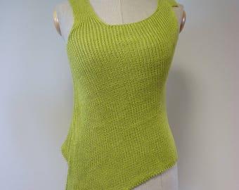 Handmade Summer green apple linen top, M size.