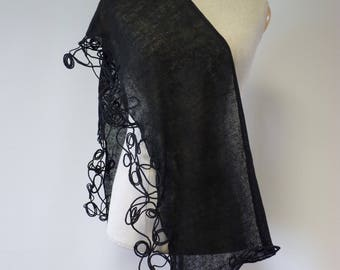 Art Deco black linen scarf, perfect for gift. Elegant and fashion.