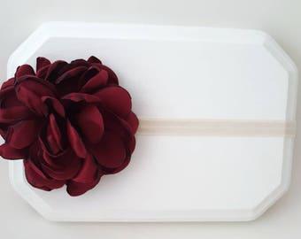 Singed Satin Flower Headband - Burgundy Headband - Newborn Headbands - Flower Girl Headband - Rustic Baby Headband -