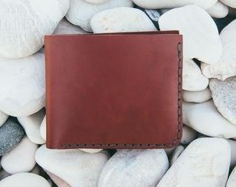 Bifold #1 EUR - Medium Brown - Wide Thread - wallet,leather wallet,bi-fold wallet,handmade leather wallet,mens wallet,mens gift,gift for him