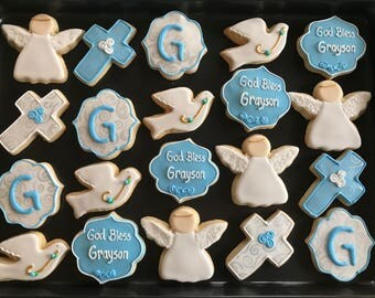 12  BAPTISM cookies CHRISTENING RELIGIOUS themed inspired vanilla sugar cookies - custom decorated - boy or girl - gender gift