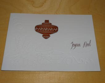 Merry Christmas Holly embossed card