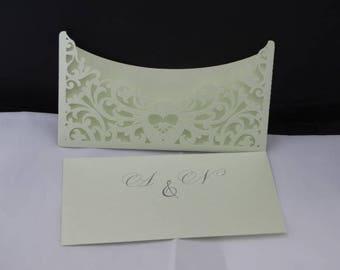 Invitation envelope wedding heart lace