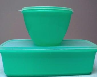 Vintage Tupperware Jadite Green Lettuce Crisper Keeper and Celery Crisper Containers Tupperware