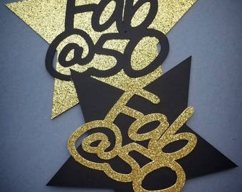 Fabulous At 50 Cake Topper / 50th Birthday Party Decorations / 50th Birthday Cake Topper / Black And Gold Birthday Decorations