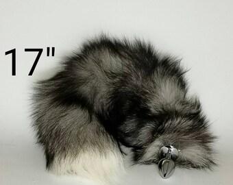 Tail Butt Plug - Fox Tail Butt Plug - INDIGO - Butt Plug - BDSM - Tail Plug - Sex Toys - Fox Tail Plug - Butt Plug Tail - Wolf Tail - Anal
