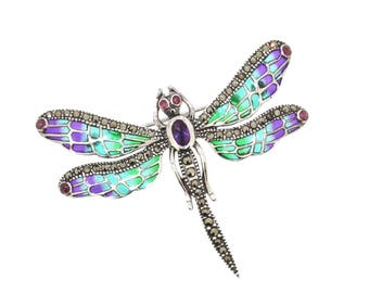 Dragonfly Brooch in Pic a Jour Enamel Silver Purple Green